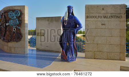 Monument to Rudolph Valentino built in his hometown of Castellaneta Taranto Italy