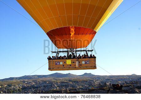 Hot Air Balloon Flying Over Cappadocia.