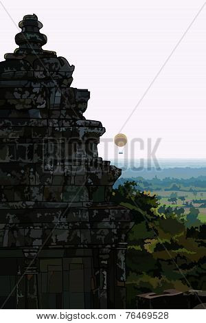 Landscape Stone Old Buildings Ankor Wat. Cambodia.eps