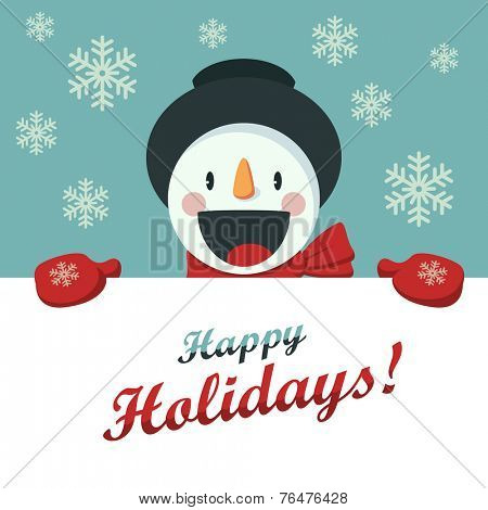 Happy Snowman greets you. Christmas background with snowflakes. Card for the New Year or Christmas