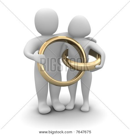 Couple and wedding rings