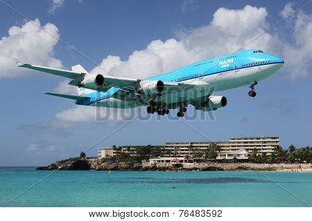 Klm Boeing 747-400 Landing St. Martin