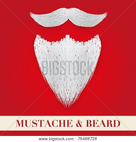 Realistic Christmas Santa white beard with curly mustache