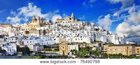 panorama of Ostuni beautiful white town in Puglia, Italy