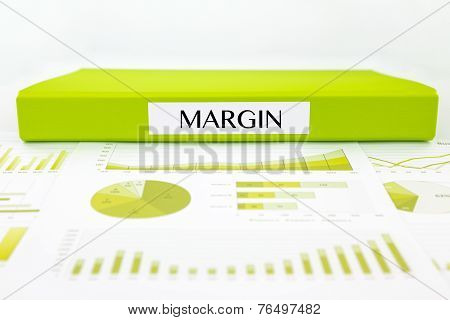 Green document binder with MARGIN word place on graphs analysis and financial reports poster