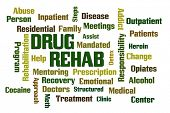 Drug Rehab word cloud with White Background poster
