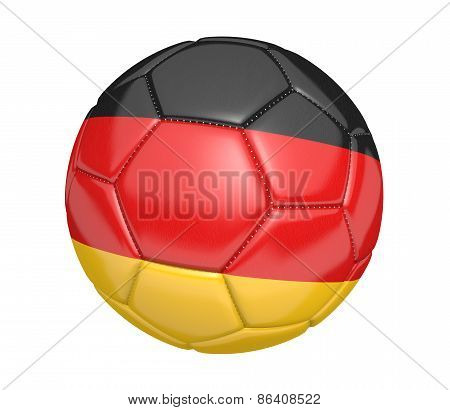 Soccer ball, or football, with the country flag of Germany