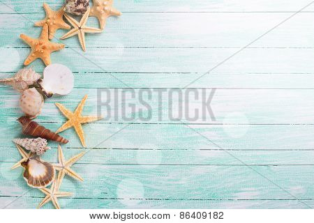 Different marine items in ray of light on turquoise wooden background. Sea objects - shells sea stars on wooden planks. Selective focus. poster