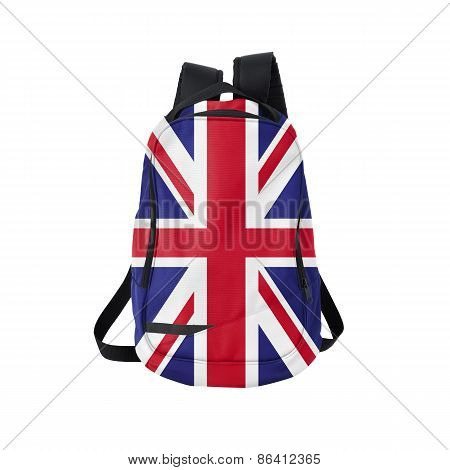 British flag backpack isolated on white background. Back to school concept. Education and study abroad. Travel and tourism in Great Britain poster