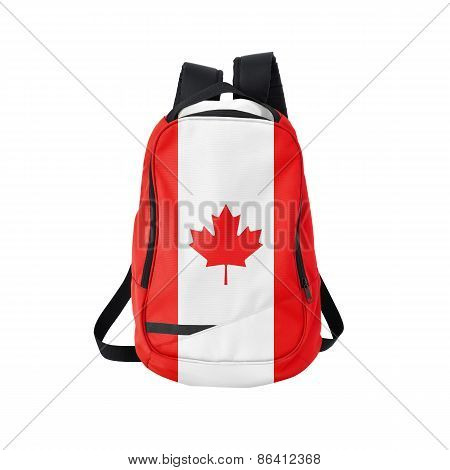 Canada flag backpack isolated on white background. Back to school concept. Education and study abroad. Travel and tourism in Canada poster