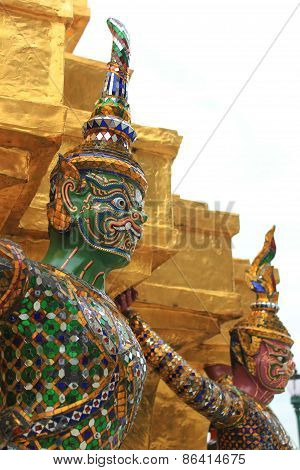 Giant Statues on a Pagoda at Temple of The Emerald Buddha