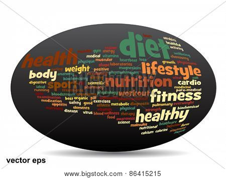 Vector concept or conceptual 3D oval or ellipse abstract health word cloud or wordcloud on white background poster