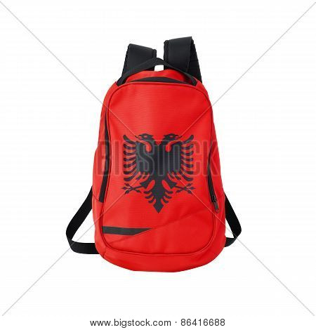 Albania flag backpack isolated on white background. Back to school concept. Education and study abroad. Travel and tourism in Albania poster