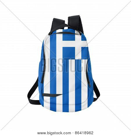 Greece flag backpack isolated on white background. Back to school concept. Education and study abroad. Travel and tourism in Greece poster
