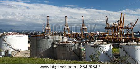 Oil Tanks In The Port