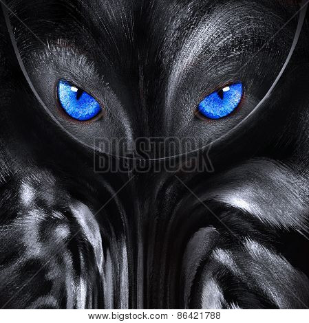 Wolf With Blue Eyes Abstract