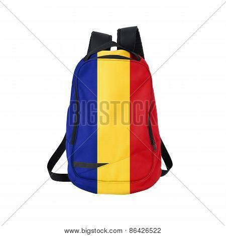 Romania flag backpack isolated on white background. Back to school concept. Education and study abroad. Travel and tourism in Romania poster