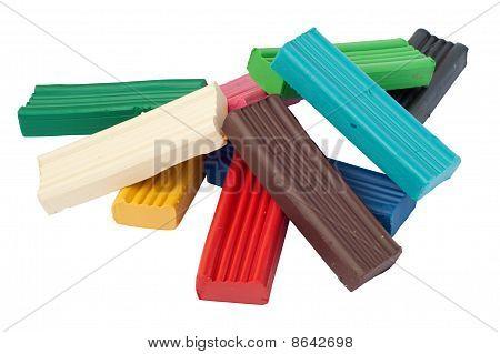 Heap Of Colored Plasticine Bricks