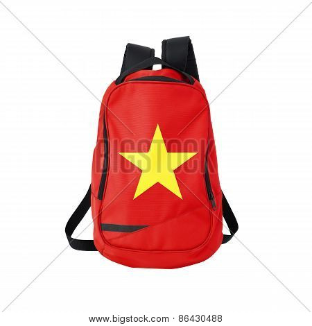 Vietnam flag backpack isolated on white background. Back to school concept. Education and study abroad. Travel and tourism in Vietnam poster