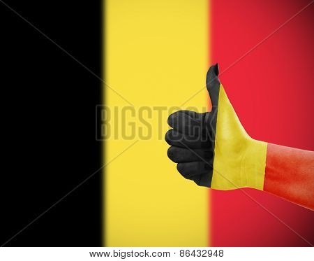 Flag Of Belgium On Hand