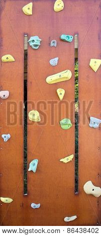 Rock Climbing Wall With Colorful Knobs