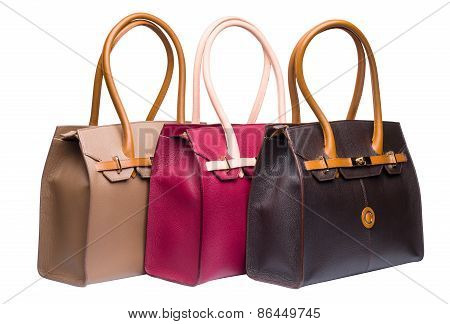 Three Natural Leather Female Purses Isolated On White