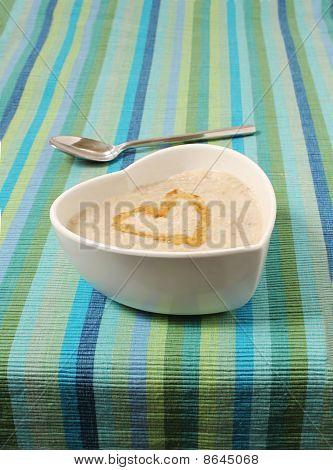 Porridge In A Heart Shaped Bowl