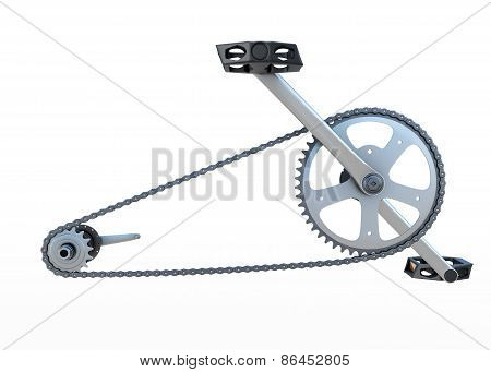 Bicycle Chain With Pedals Front View