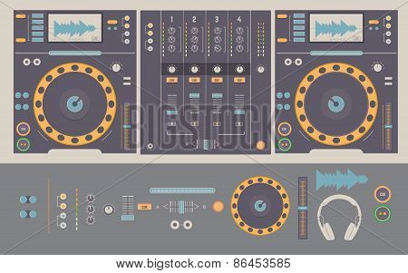 Illustration Of Dj Mixing Decks And Elements.