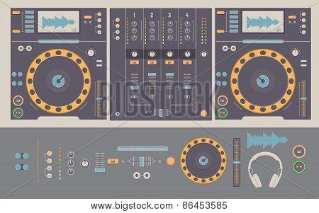 Illustration Of Dj Mixing Decks And Elements.