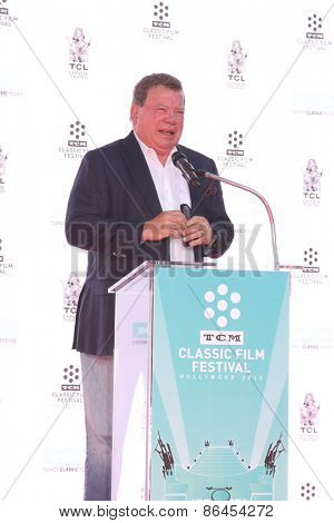 LOS ANGELES - MAR 27:  William Shatner at the Christopher Plummer Hand and Foot Print Ceremony at the TCL Chinese Theater on March 27, 2015 in Los Angeles, CA