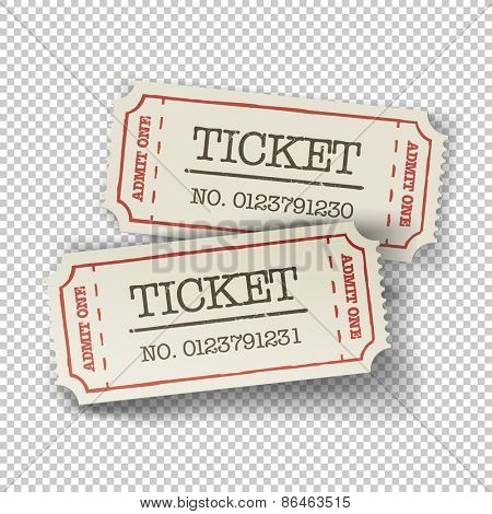 Two cinema tickets (pair). Isolated on transparent background, vector illustration.