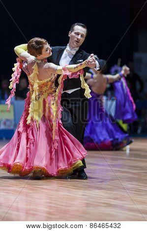 Minsk, Belarus-february 14, 2015: Senior Dance Couple Of Sergey Domorad And Svetlana Domorad Perform