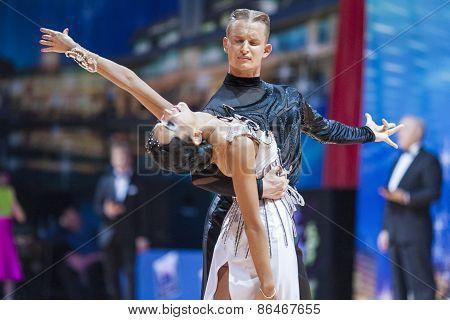 Minsk, Belarus-february 14,2015: Professional Dance Couple Of Kozyro Artsem And Veslova Anastasiya