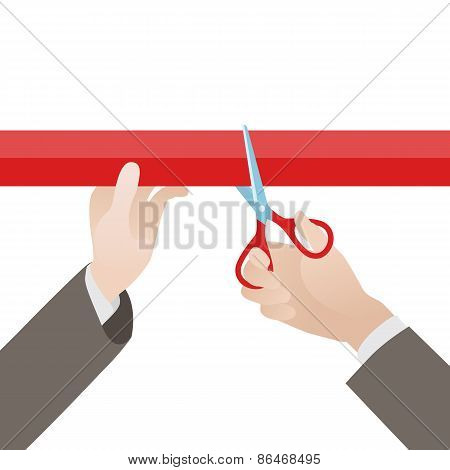 Hand with scissors cut the red ribbon