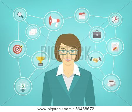 Modern Business Woman Conceptual Infographics