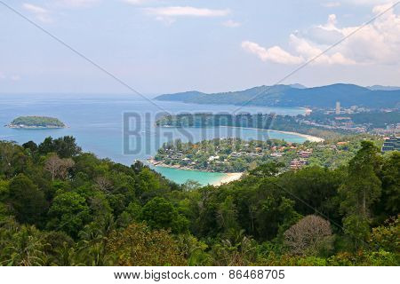 Landscape view of 3 bays from Kata Viewpoint on Phuket Island, Thailand - Kata, Karon and Kata Noi