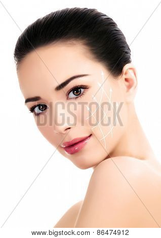 Young female with clean fresh skin, antiaging concept  poster