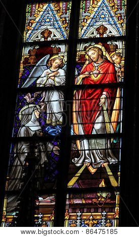 Stained Glass Of Sacred Heart Of Jesus In Den Bosch Cathedral