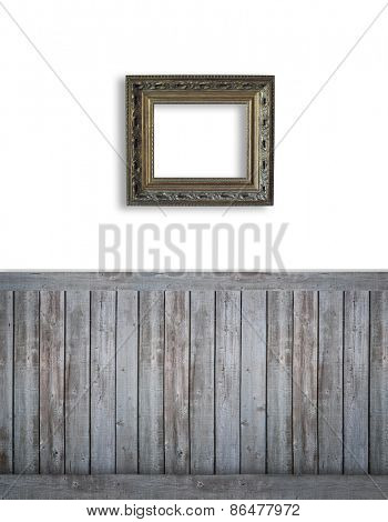 Blank backdrop with dark bead board for advertising