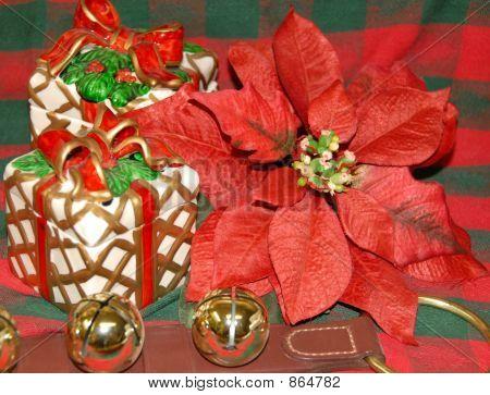 Poinsettia gift  sleigh bells