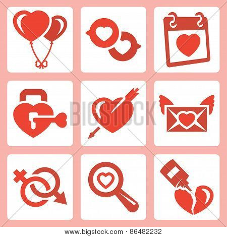 Vector Isolated Love Icons Set