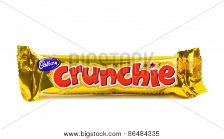 A single Cadbury crunchie chocolate bar