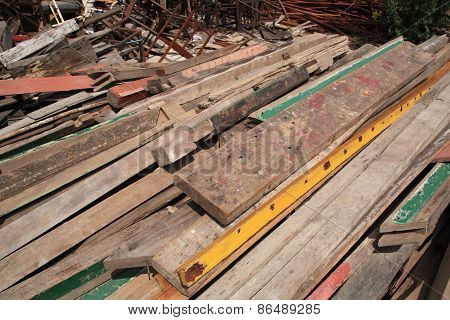 Timber And Iron For Recycling At Waste Depot
