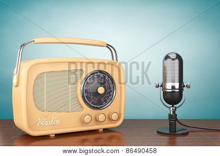 Retro Radio And Vintage Microphone