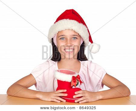 Adorable Little Girl With Blue Eyes And Christmas Cup