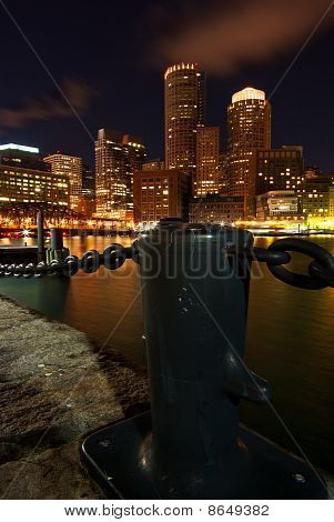 Boston Illuminated At Night From Rowe's Wharf