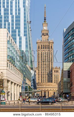 Warsaw downtown cityscape