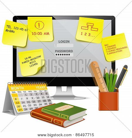 Vector Computer Office Concept