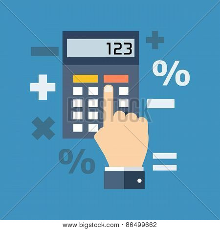Calculation, Mathematics, Accountant Concept. Flat Design.